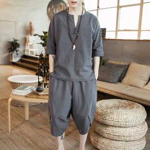 中国风男装夏季唐装汉服短袖青年古风古装中式亚麻棉麻套装两件套