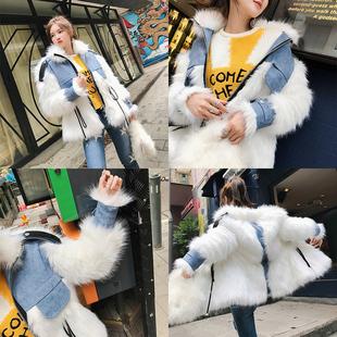 很仙的外套2018冬装白色仿狐狸毛皮草女短款网红毛毛洋气上衣