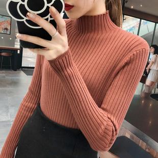 打底毛衣女2018半高领套头针织衫秋冬长袖加厚打底衫黑色