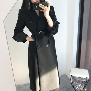 2018秋冬新时尚名媛女神系带中长款西装双排扣长袖显瘦外套女