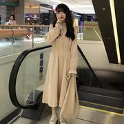 配大衣很仙的长裙子秋冬学生灯芯绒连衣裙法式少女维多利亚复古裙