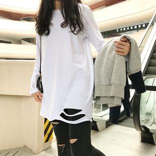 秋冬中长款白色下摆破洞加绒长袖t恤打底衫女洋气内搭加厚上衣女