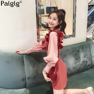 2018秋冬季气质甜美女装毛呢裙子红色长袖呢子连衣裙