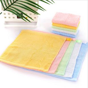 幼儿园竹纤维四方巾婴儿童小毛巾比纯棉好带挂钩洗脸童巾面巾