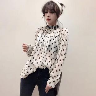 欧洲站秋冬女装2018蕾丝雪纺宽松气质波点T恤时尚领长袖上衣