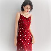 波点裙子无袖长裙赫本风夏吊带连衣裙2021收腰气质时尚黑红色