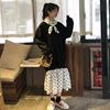 秋冬宽松慵懒风加绒加厚拼接波点中长款气质卫衣连衣裙长裙女
