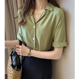 雪纺衫女2019夏季短袖洋气衬衫打底衫超仙宽松牛油果绿上衣潮