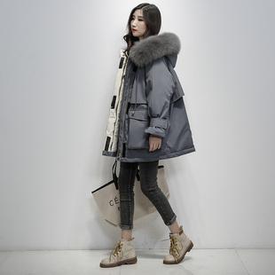 羽绒服女中长款2018冬季 时尚宽松大毛领白鸭绒外套加厚