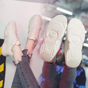 超火小白女鞋子2018冬季百搭老爹chic运动学生网红小熊智熏鞋