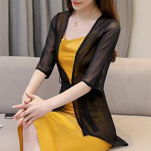 雪纺长衫披肩薄外套女夏季韩版中长款防晒衣宽松配裙子的外搭开衫