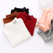 男女童纯棉翻领中高领打底衫秋冬款 岁儿童宝宝纯色长袖T恤