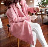 查看精选2018纯色新韩国宽松连帽开衫粉色长袖毛衣秋冬女中长款外套针织衫最新价格
