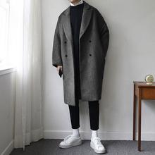 碧舍男装韩国中长款宽松加厚毛呢外套纯色个性帅气呢子大衣潮