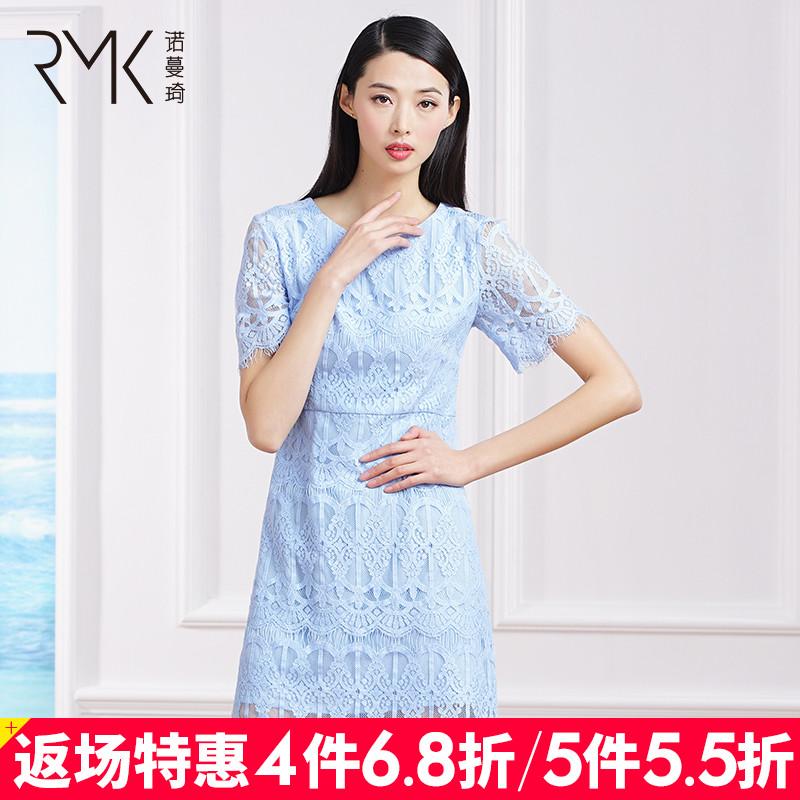 诺曼琦女装气质通勤短袖连衣裙2018夏季高腰包臀显瘦蕾丝裙
