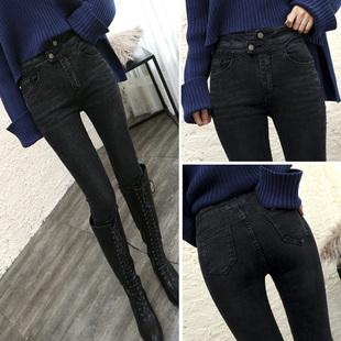 高腰牛仔裤女春秋冬加绒时尚靴黑色显瘦小脚铅笔裤潮