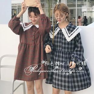 粉色甜心日本直送 LOVE 1月上 可爱蕾丝翻领格纹连衣裙
