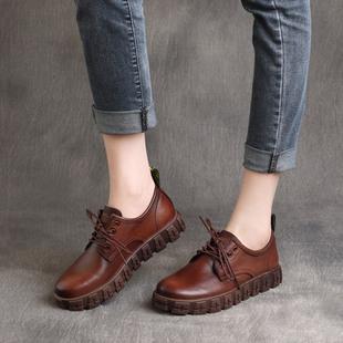 2021春季复古真皮英伦风帅气系带平底低跟单鞋纯色小皮鞋女士
