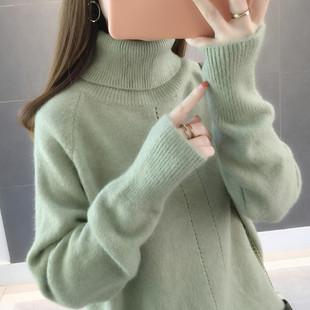 毛衣女2018网红纯色高领宽松慵懒风套头加厚针织打底衫秋冬女