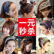 发带韩国发饰品头饰宽边蝴蝶结发箍兔耳朵头箍刘海小发卡头窟发夹
