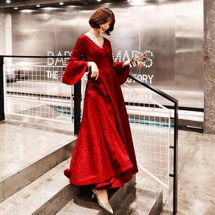 敬酒服新娘2018结婚冬季红色长袖晚礼服裙女年会显瘦v领长款