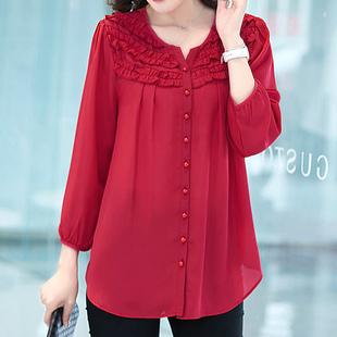 春季遮肚子雪纺衫女长袖2019胖MM洋气开衫红色上衣时尚小衫潮