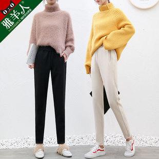 毛呢女裤子秋冬季2018宽松高腰花苞九分小脚萝卜哈伦裤女