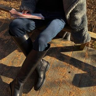 Ayuko 2020冬装港风复古黑色高腰紧身牛仔裤百搭显瘦小脚裤女