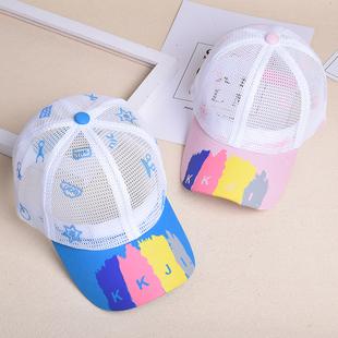 夏天防晒儿童鸭舌帽子小孩薄女童网眼凉帽遮阳户外男童棒球帽透气