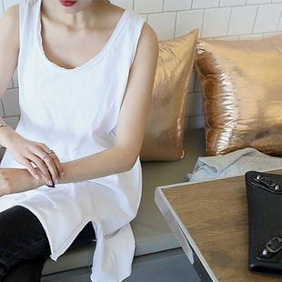 韩版三色背心中长款纯棉无袖侧开叉T恤夏装大码休闲女装宽松