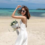 2021夏装女吊带连衣裙白色性感露背沙滩裙子雪纺海边度假长裙