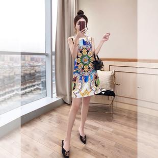 高冷范女装气质裙子2021年早秋印花无袖复古法式民族风连衣裙