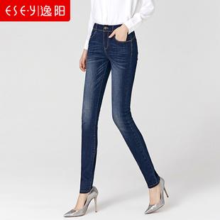 逸阳2019牛仔裤女春秋复古小脚高腰弹力显瘦铅笔长裤