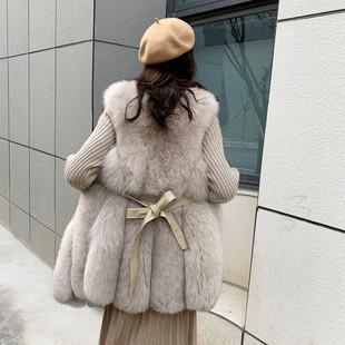 仿真狐狸毛马甲女中长款收腰系带皮草马夹毛毛水滴款背心冬季