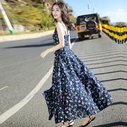2021早春夏季女装女吊带长裙子三亚度假沙滩裙雪纺碎花连衣裙