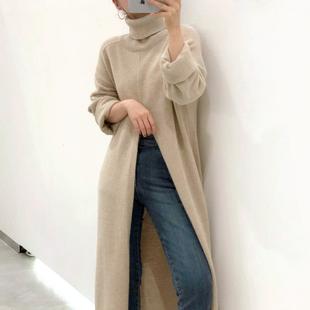 韩国chic秋冬小众设计高领套头宽松休闲开叉过膝长款针织衫毛衣女