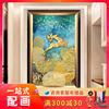 美式入户玄关装饰画客厅走廊过道挂画竖款发财树浮雕欧式单幅油画