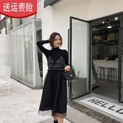 冬季打底衫+格子网纱吊带针织毛衣连衣裙套装女超火闺蜜装两件套