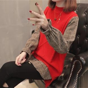 春季女装针织衫马甲假两件套装宽松圆领衬衫时尚短款毛衣
