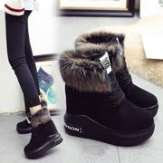 厚底棉鞋女冬松糕底内增高雪地靴女款短靴高跟休闲鞋加绒加厚