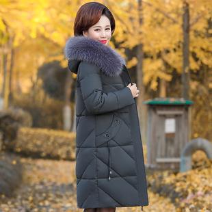 中老年棉衣女中长款2018妈妈羽绒棉服40岁50中年棉袄冬装外套