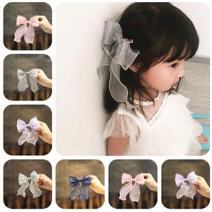 韩国儿童发饰宝宝发夹卡超仙卷边纱蝴蝶结飘带发夹女童边夹头饰品