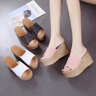 拖鞋女高跟厚底增高夏季防水台女士凉拖鞋坡跟凉鞋松糕鞋