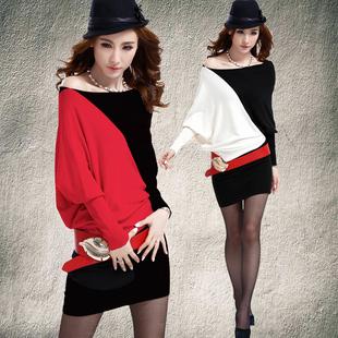 蝙蝠袖包臀连衣裙 秋冬大码性感夜店女装 个性斜肩针织夜场包臂裙