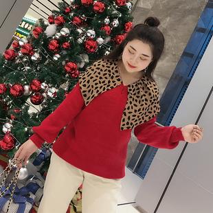 胖mm毛衣大码女装2018冬装洋气日系甜美豹纹披肩领打底针织衫