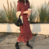 秋冬女装气质红色碎花长裙内搭很仙的过膝雪纺连衣裙法国小众