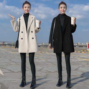 毛呢外套女中长款小个子2020秋冬季妮子韩版加厚流行呢子大衣