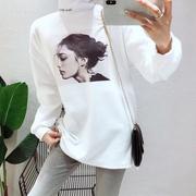 2018高领打底衫女长袖宽松大版中长款白色加绒t恤女冬潮