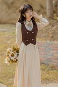 秋冬法式学院风复古减龄衬衫文艺连衣裙短款马甲两件套时尚英伦风