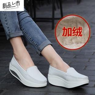 冬季加绒摇摇鞋白色护士鞋坡跟棉鞋女鞋黑色松糕厚底妈妈鞋舒适